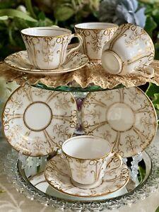 Antique Teacups & Saucers X FOUR! Coalport? Ridgway? Minton? Embossed, Gilded.