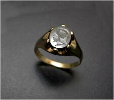 Vintage Hematite Ring Intaglio Statement UK-X 9ct Gold Man's London HM c1982