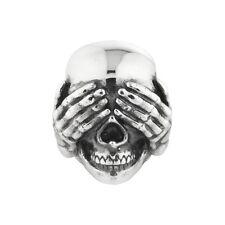 Totenkopf Rebeligion Silber für Lederarmband Black Rock Large nichts sehen Bead