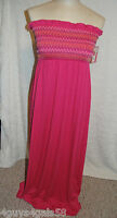 Womens Maxi Dress SUMMER Bright Pink STRAPLESS S 4-6 M 8-10 L 12-14 XL 16-18