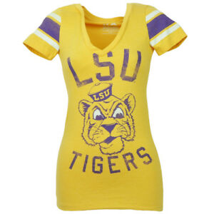 NCAA Louisiana State Tigers LSU Yellow Tshirt Tee Womens Striped Short Sleeve