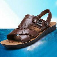 Summer Men's Leather Sandals Adjustable Casual Slippers Beach Holiday Shoes Size