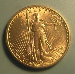 Beautiful! 1908 No Motto Gold $20 Saint Gaudens Double Dbl Eagle Coin ~ BU ~