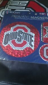 OHIO STATE UNIVERSITY Buckeyes 3-PIECE PRISMATIC Magnets Decal Set by WinCraft
