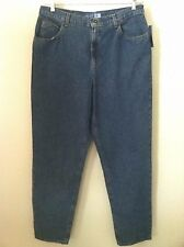 New Liz Claiborne woman jeans 16 reg classic blue denim taper leg curve hip size