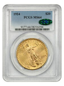 1924 $20 PCGS/CAC MS64 - Saint Gaudens Double Eagle - Gold Coin