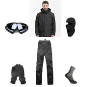 D45 Men Ski Snowboard Jacket Pants Gloves Goggles Balaclava Socks S M L XL XXL