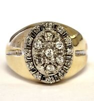 14k yellow gold .39ct SI2 H diamond mens cluster ring 10.2g gents estate vintage