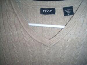 Izod Mens Sz L Cable Knit Sleeveless Golf Sweater / Vest Choose Red Black Beige