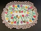 Vtg Hand Embroidered Sm Oval Table Cover - Placemat- Centerpiece w Flowers