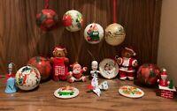 Lot of 17 Pieces Vintage Christmas Ornaments Flocked Santa Snowman Santa Bears