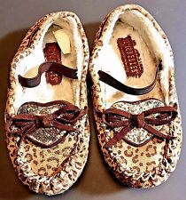 Seychelles Leopard Print Glitter Heart Bows Moccasins Slippers Toddler Size 9