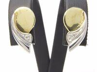 Ohrringe earrings 585 GOLD Brillanten Diamanten bicolor boucle d'oreille 18kt