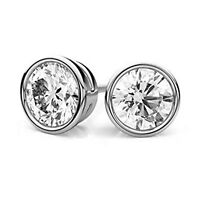 Sterling Silver 925 Bezel Set Round Brilliant Round CZ Stud Earrings 6MM