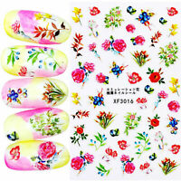 Nail Art Water Decals Stickers Transfers Vintage Flowers Rose Fern Floral XF3016