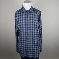 Vineyard Vines Slim Fit Whale Shirt Mens XL Blue Gray Long Sleeve Flannel Plaid