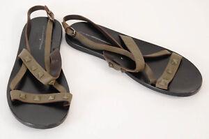 Valentino dark green 9 42 leather signature rockstud trim sandal shoe $845