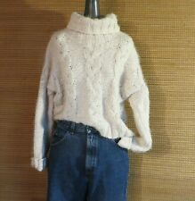 Womens POL Fuzzy Chenille Turtle Neck Sweater Ivory Oversized S
