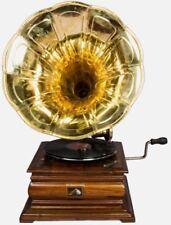 Brass Horn Vintage Phonograph Hmv Antique Music Box Wooden Gramaphone HB 039