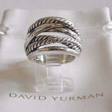 David Yurman New Wide CrossOver Sterling Silver Cable Band Size 7 Ring w/ Pouch