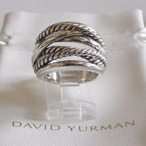 David Yurman Wide CrossOver Sterling Silver Cable Band Size 8 Ring -&---- Pouch