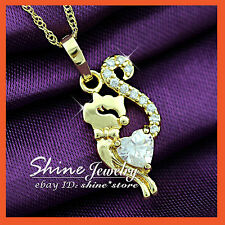 14K GOLD GF P106 DIAMOND CRYSTAL MISS LADY CAT KITTY KID NECKLACE PENDANT GIFT