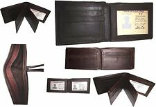 6 Men's Soft Leather Wallet 9 Card Holder 3 ID windows Billfold Wallet Brand New
