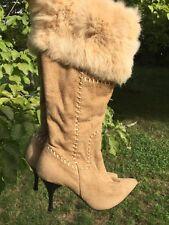 VERTICAL Secret Dominatrix Victorias Fur Leopard Stiletto Womens Boots Shoe Sz 7