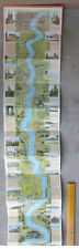 Original 1930s Large Fold Out Map Course of the Rhine from Mayence to Cologne