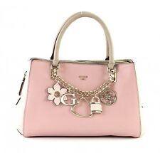 GUESS Hadley Girlfriend Satchel Handtasche Tasche Rose Multi Rosa Beige Neu