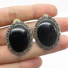 Vtg 925 Sterling Silver Real Black Onyx Marcasite Gemstone Clip On Earrings