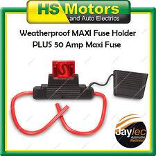 Maxi Blade Fuse Holder Weatherproof + 50 Amp Maxi Fuse Dual Battery EFU5007+50