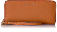 Michael Kors Large Travel Leather Continental Wallet -Acorn Brown 32S5GTVE9L NWT