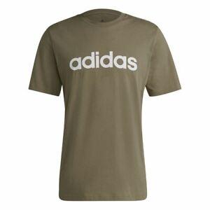 Adidas Text Print T-Shirt Men Crew Neck Short Sleeve Khaki White Boys Linear Top