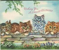 VINTAGE ORANGE TABBY CATS KITTENS FLOWERS GARDEN STONE WALL GREETING CARD PRINT