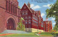 New listing Burlington, Vermont, College Row, University of Vermont - Postcard (YY)