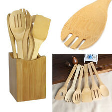 6x/Set Bamboo Utensil Kitchen Wooden Cooking Tools Spoon Spatula Mixing Hot RU