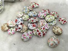 20pcs Mixed Color Sizes & shapes Printed Flatback Fabric Covered Buttons Craft