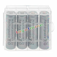 4 psc AA 3000mAh 1.2V Ni-MH Grey Color Rechargeable Battery Cell +1pcs Case