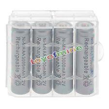 4psc AA 3000mAh 1.2V Ni-MH Gris Couleur Batterie Rechargeable Portable+1pcs Case