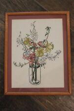 Vintage Custom Framed Embroidery! Cut Flowers in a Mason Jar! Daffodils & Posies