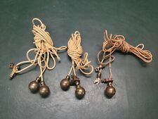 Set of 3 Vintage Rope with Brass Balls Curtain Drape ? Weights