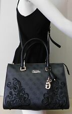 "Guess Black Paisley Embroidered Satchel Crossbody Shoulder Bag Handbag ""NWT"""