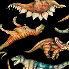 Different Dinosaurs Tossed-Black B/G-BTY-Quilting Treasures-T-Rex-Terodatcyl