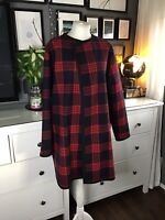 ZARA STUDIO Black Red Large Navy Checked Wool Cape Coat ONE SIZE M 10 12 14 16