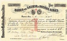 SPAIN & ARGENTINA / BANCO DE GALICIA Y BUENOS AIRES, PROMISSORY NOTE MARCH 1913