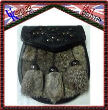 gris lapin fourrure écossais celtique clou Budget SEMI Costume Sporran chrome