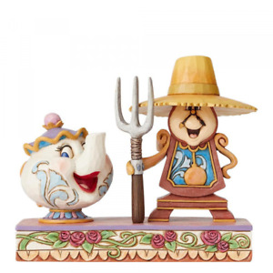 Disney Traditions Mrs Potts and Cogsworth Figurine Workin Round the Clock New