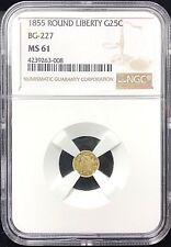 1855 California Fractional Gold 25c Round Liberty BG-227 NGC MS61
