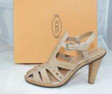 luxus Tods Tod´s Gr 40 Sandaletten High Heels Schuhe Shoes beige neu UVP 430€